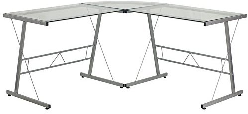 Flash Furniture Glass L-Shape Computer Desk with Silver Frame Finish - Glass Computer Desks