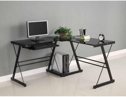 Walker Edison Soreno 3-Piece Corner Desk, Black with Black Glass - Glass Computer Desks