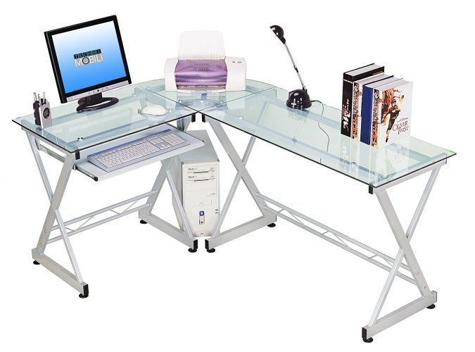 Tempered Glass L Shape Corner Desk With Pull Out Keyboard Panel. Colour: Clear - Glass Computer Desks