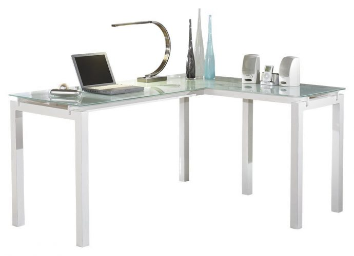 Ashley Furniture Signature Design - Baraga Home Office Desk - Contemporary Style - Glass Top - white - Glass Computer Desks