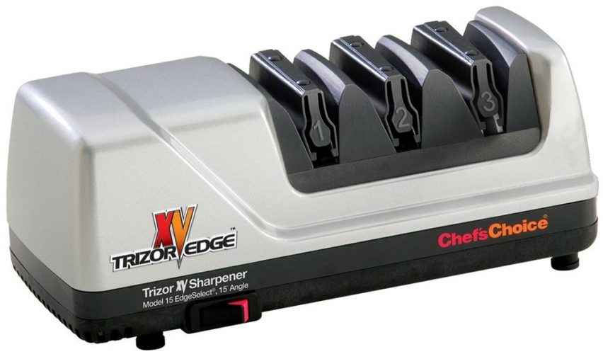 Chef'sChoice 15 XV Trizor Professional Electric Knife Sharpener EdgeSelect for Straight and Serrated Knives Diamond Abrasive Patented Sharpening System Made in USA, 3-Stage, Gray - Electric Knife Sharpeners