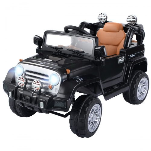 Costzon Ride On Jeep Car, 12V 2WD Powered Truck, Manual/ Parental Remote Control Modes Truck Vehicle with Headlights, MP3 Port, Music, Horn for Kids (Black Jeep) - Electric Cars For Kids