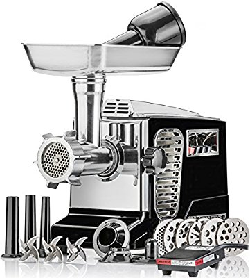 Electric Meat Grinder - Size #12 - Model STX-4000-TB2-PD - STX International Turboforce II - Air Cooling Patent - Foot Pedal Control, 6 Grinding Plates, 3 Cutting Blades, Kubbe & Sausage Tubes – Black - Electric Meat Grinders