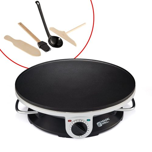 "Magic Mill 13"" Professional Electric Crepe Maker & Griddle, Non-stick Cooking Plate, Variable Temperature Control, Includes: Batter Spreader, Wooden Spatula, Oil Brush and ladle, 1000 W - Crepe Makers"