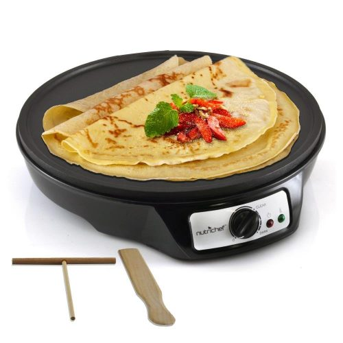 NutriChef Electric Crepe Maker Griddle, 12-inch Nonstick Use also For Pancakes Blintzes Eggs & More Black (PCRM12) - Crepe Makers