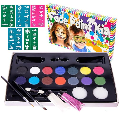 "Face Paint Kit with 50 Stencils, 14 Paints + 2 Glitter Gels ""Super Buggly Kit"" By Bo Buggles Kids: Large 4-gram Professional Paints, 2 Brushes, 2 Sponges. Pro-Quality Non-Toxic Face Painting Palette"