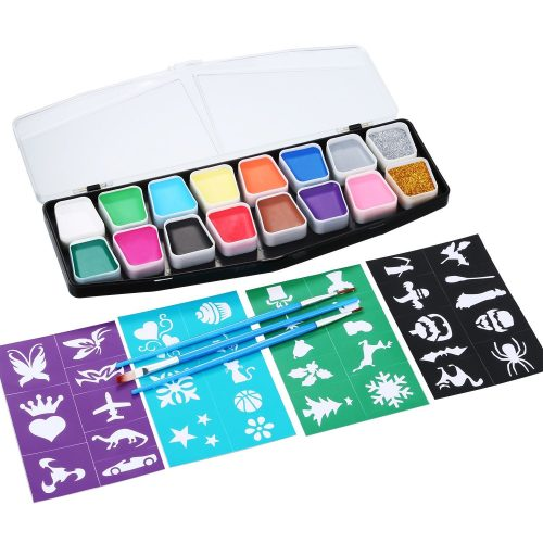 Face Painting Kit TOODOO 16 Color Face Paints with 36 Stencils, 3 Pieces Face and Body Paint Brushes, Safe Cosmetic Grade FDA Compliant Face Paint Party Set
