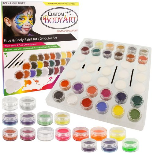 40 Color Pro Face Paint Color Set. Large 10-ml Jars with Applicator Kit. A Full 40 Color Rainbow Pallet, Perfect for Face Painting At Any Children's Party