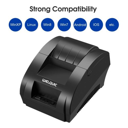 WELQUIC Small Portable USB Thermal Receipt Printer Compatible with Bill Ticket Barcode POS/ESC 58mm, Black