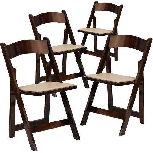 Flash Furniture 4 Pk. HERCULES Series Fruitwood Wood Folding Chair with Vinyl Padded Seat - Wooden Folding Chairs