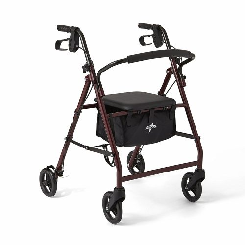 "Medline Steel Foldable Adult Rollator Mobility Walker with 6"" Wheels, Burgundy - Rollator Walkers with Seat"