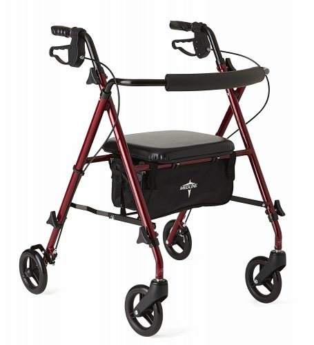 Medline Freedom Mobility Lightweight Folding Aluminum Rollator Walker with 6-inch Wheels, Adjustable Seat, and Arms, Burgundy - Rollator Walkers with Seat