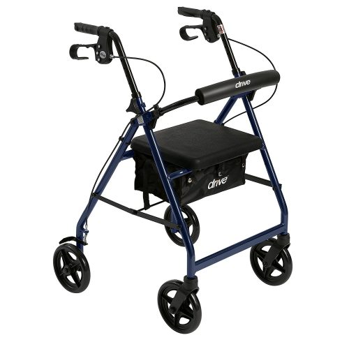 "Drive Medical Aluminum Rollator Walker Fold Up and Removable Back Support, Padded Seat, 6"" Wheels, Black - Rollator Walkers with Seat"