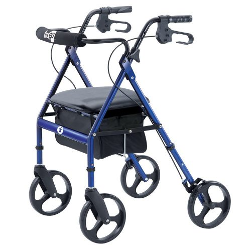 Hugo Portable Rollator Walker with Seat, Backrest, and 8 Inch Wheels, Blue - Rollator Walkers with Seat