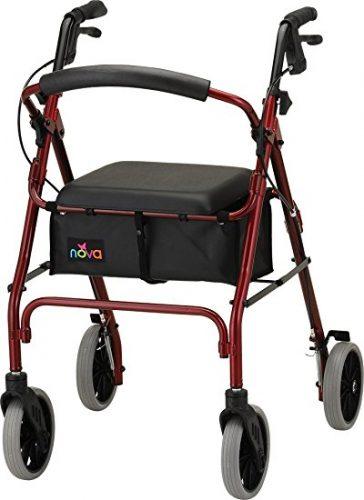 "NOVA 24"" Zoom Rollator Walker, Red - Rollator Walkers with Seat"