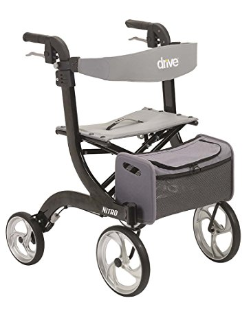 Drive Medical Nitro Euro Style Black Rollator Walker, Black - Rollator Walkers with Seat