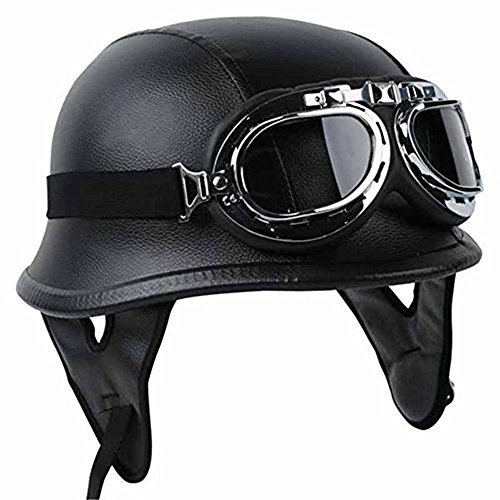 Half Helmet Black Dot Adult German Style added leather protection with goggles