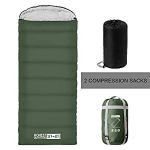 "8. ""HONEST OUTFITTERS Sleeping Bag with Compression Sack, Envelope Portable and Lightweight for 3-4 Season Camping, Hiking, Traveling, Backpacking and Outdoor Activities Bottle Green (SINGLE)"" - Sleeping Bags"