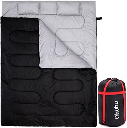 """Ohuhu Double Sleeping Bag With 2 Pillows And A Carrying Bag, Waterproof Lightweight 2 Person Sleeping Adult Bag For Camping, Backpacking, Hiking"" - Sleeping Bags"