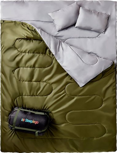 """Sleepingo Double Sleeping Bag For Backpacking, Camping, Or Hiking. Queen Size XL! Cold Weather 2 Person Waterproof Sleeping Bag For Adults Or Teens. Truck, Tent, Or Sleeping Pad, Lightweight"" - Sleeping Bags"
