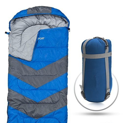 """Sleeping Bag – Envelope Lightweight Portable, Waterproof, Comfort With Compression Sack - Great For 4 Season Traveling, Camping, Hiking, Outdoor Activities & Boys. (SINGLE) By Abco Tech"" - Sleeping Bags"