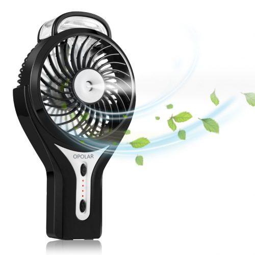 OPOLAR Handheld Misting Fan, Rechargeable Battery Operated Fan, 3 Settings, Water Spray Fan, Mini Portable Desk Fan, Humidifier Quiet Fan, 2200mAh Battery, Personal Cooling Fan for Outdoor, Home