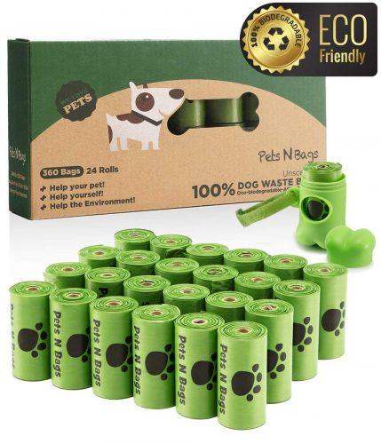 Pets N Bags Dog Waste Poop Bags, Refill Rolls (60 Rolls / 900 Count, Unscented), Includes Dispenser