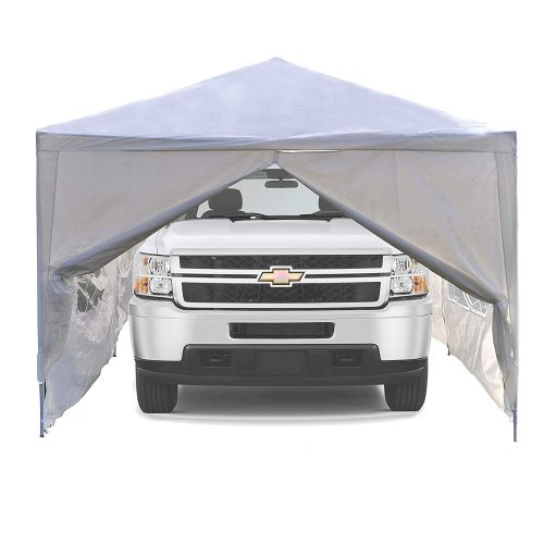 ALEKO 20 x 10 Portable Garage Carport Car Shelter Canopy, White
