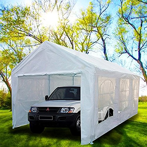 Peaktop 20'x10' Heavy Duty Portable Carport Garage Car Shelter Canopy Party Tent Sidewall with Windows White