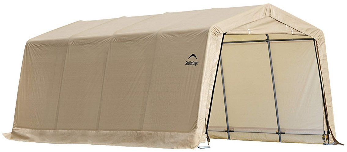 ShelterLogic Peak Style AutoShelter, Sandstone, 10 x 20 x 8 ft.