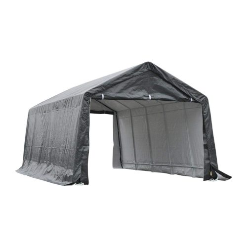 Outsunny 20' x 12' Heavy Duty Enclosed Vehicle Shelter Carport – Grey