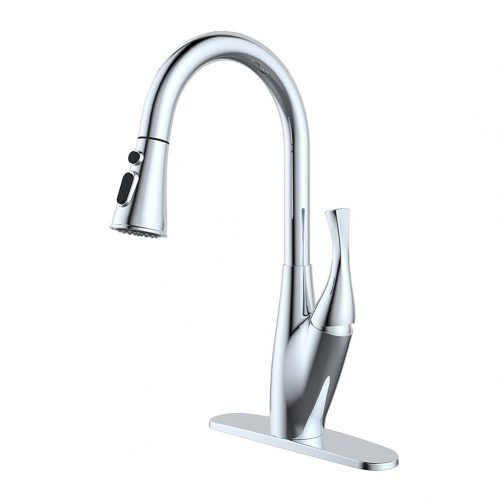 BOHARERS Kitchen Faucet with Sprayer - Spray/Stream Stainless Steel Single Handle Spot Resist, Polished Chrome
