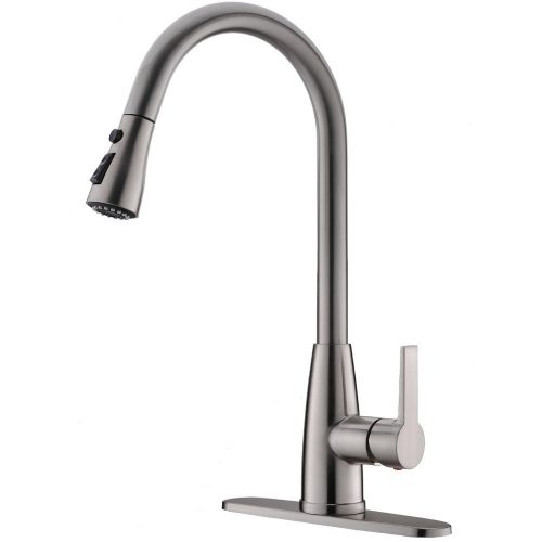 Hotis Modern High Arc 1 or 3 Hole Single Handle Stainless Steel Prep Sprayer Pull Out Pull Down Sprayer Kitchen Sink Faucet,Brushed Nickel with Deck Plate