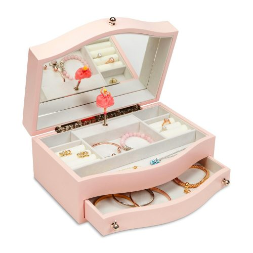 JewelKeeper Girls Wooden Music Jewellery Box with Pullout Drawer, Classic Design with Ballerina and Mirror, Somewhere Over The Rainbow Tune, Rose Pink