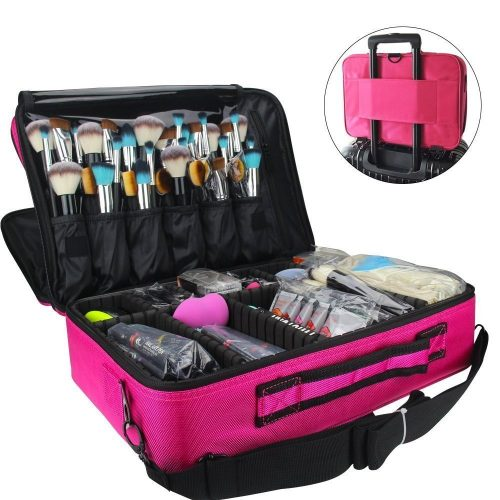 MONSTINA Makeup Train Case 3 Layer Cosmetic Organizer Beauty Artist Storage Brush Box with Shoulder Strap, Pink 16 Inch