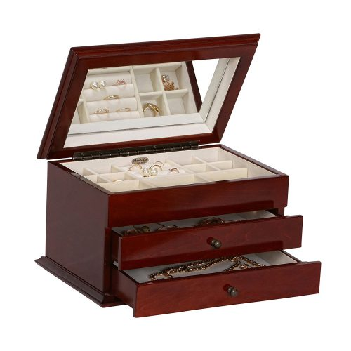 Mele & Co. Brayden Wooden Jewelry Box with Floral Marquetry Motif