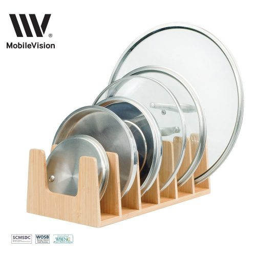 MobileVision Bamboo Pot Lid Holder Organizer for Storage in Cabinets or Kitchen Countertops and Cupboards