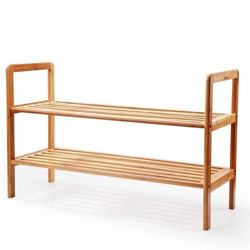 """Mosa Natural Bamboo 2-Tier Shoe Rack (27.6"""" X 10.2"""" X 15.7""""), Wood Shoe Shelf Wooden Shoe Storage Organizer"""