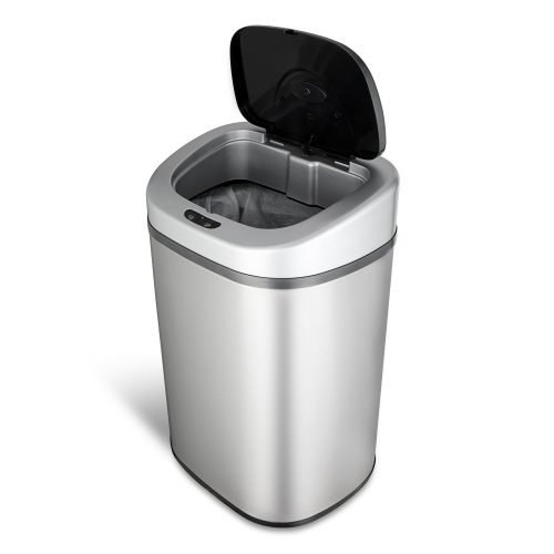 Ninestars DZT-80-4 Automatic Touchless Motion Sensor Oval Trash Can, 21 Gal. 80 L, Stainless Steel - Stainless Steel Trash Cans