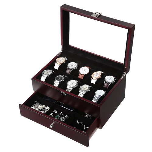 SONGMICS Mens Wooden Watch Box 10 Slots Jewelry Organizer Storage Case with Real Glass Top UJOW02Z