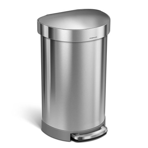 Simplehuman 45 Liter/12 Gallon Stainless Steel Semi-Round Kitchen Step Trash Can with Liner Rim, Brushed Stainless Steel - Stainless Steel Trash Cans