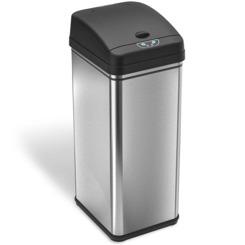 iTouchless 13 Gallon Stainless Steel Automatic Trash Can with Odor Control System, Big Lid Opening Sensor Touchless Kitchen Trash Bin ( Base Version - No AC Adapter ) - Stainless Steel Trash Cans