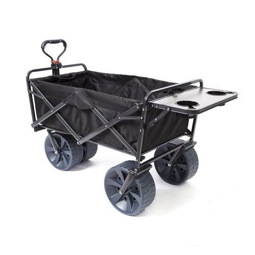 Mac Sports Heavy Duty Collapsible Folding All Terrain Utility Wagon Beach Cart (Black with Table)
