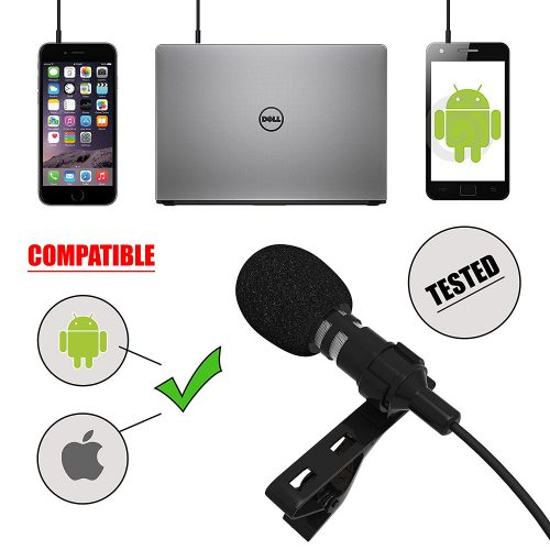 Living Venue Professional Voice Recording Lavalier Lapel Microphone For Vlogs, Smartphones, Tablets, Apple iPhone, DSLR Cameras! Best, Clip-On Lapel Microphone With FREE EXTRAS!