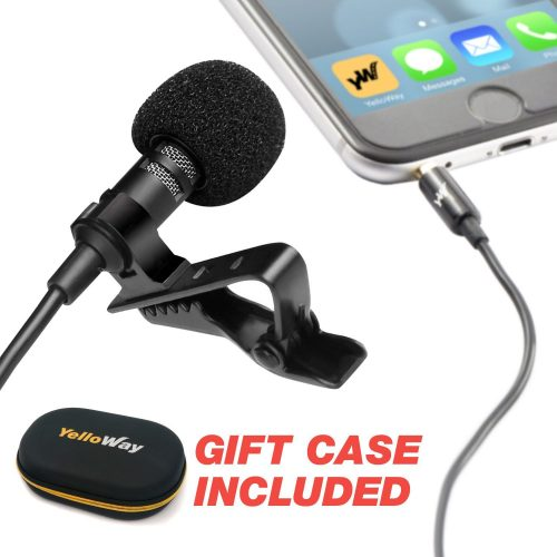 Professional Grade Lavalier Lapel Microphone - For Youtube Interviews & Podcasting & Live Streaming & Video - Perfect Lav Mic for Recording on iPhone 5, 6, 6s, seven-plus, 8, X - External Mic with Clip-On