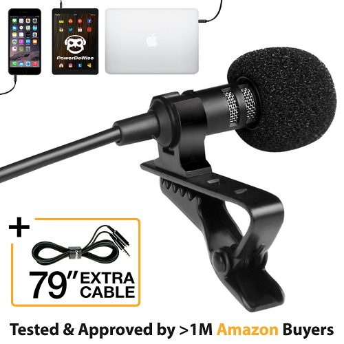 Professional Grade Lavalier Lapel Microphone ­ Omnidirectional Mic with Easy Clip-On System ­ Perfect for Recording Youtube/Interview/Video Conference/Podcast/Voice Dictation/iPhone/ASMR