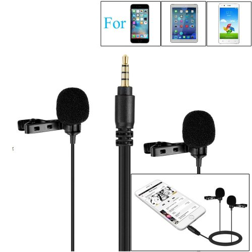 157'' BOYA BY-LM400 Dual-head Omnidirectional Condenser Lavalier Lapel Microphone for iPhone 8 8 plus 7 Smartphone iPad Air iPod Video Record Interview Mic