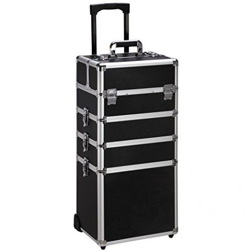 Ollieroo 4 in 1 Aluminum Rolling Cosmetic Makeup Train Cases Trolley Professional Artist Train Case