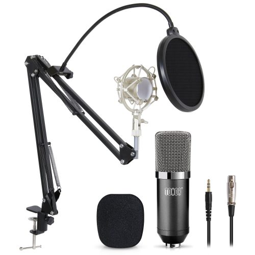 TONOR Professional Studio Condenser Microphone Computer PC Microphone Kit with 3.5mm XLR/Pop Filter/Scissor Arm Stand/Shock Mount for Professional Studio Recording Podcasting Broadcasting, Black