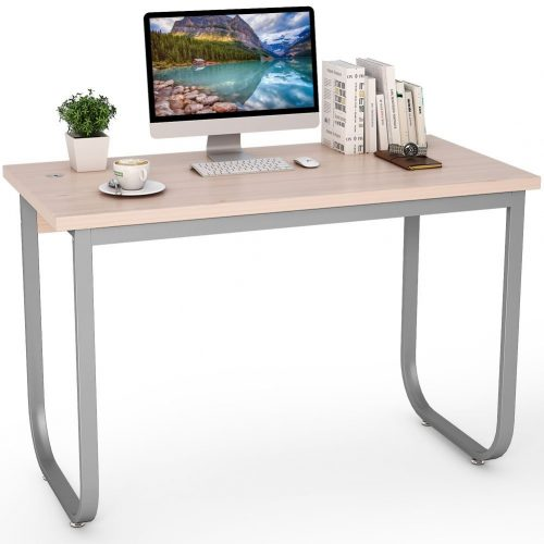 "Tribesigns 47"" Simple Modern Computer Desk PC Laptop Study Writing Desk/Table for Home Office, Sturdy Metal Frame (Oak) - Study Tables"